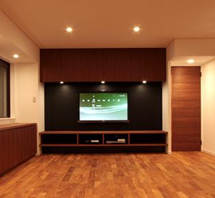 芦屋K邸チーク壁面TVボード