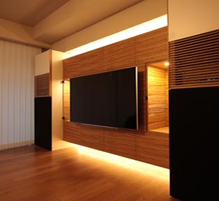 芦屋市A邸 ゼブラウッドの壁面収納テレビボード