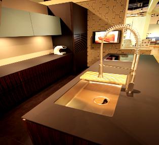 神戸HDC店黒マット天板とブラックウッドのオーダーキッチンスペース