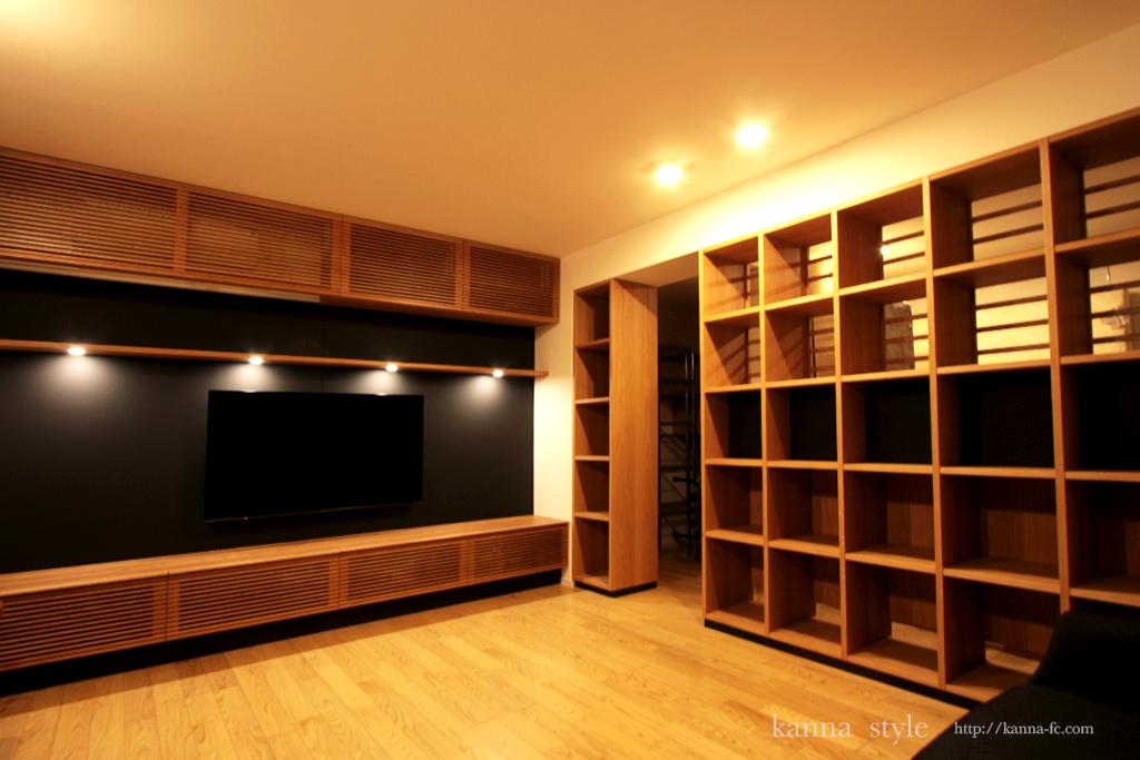 オーダーテレビボードと本棚