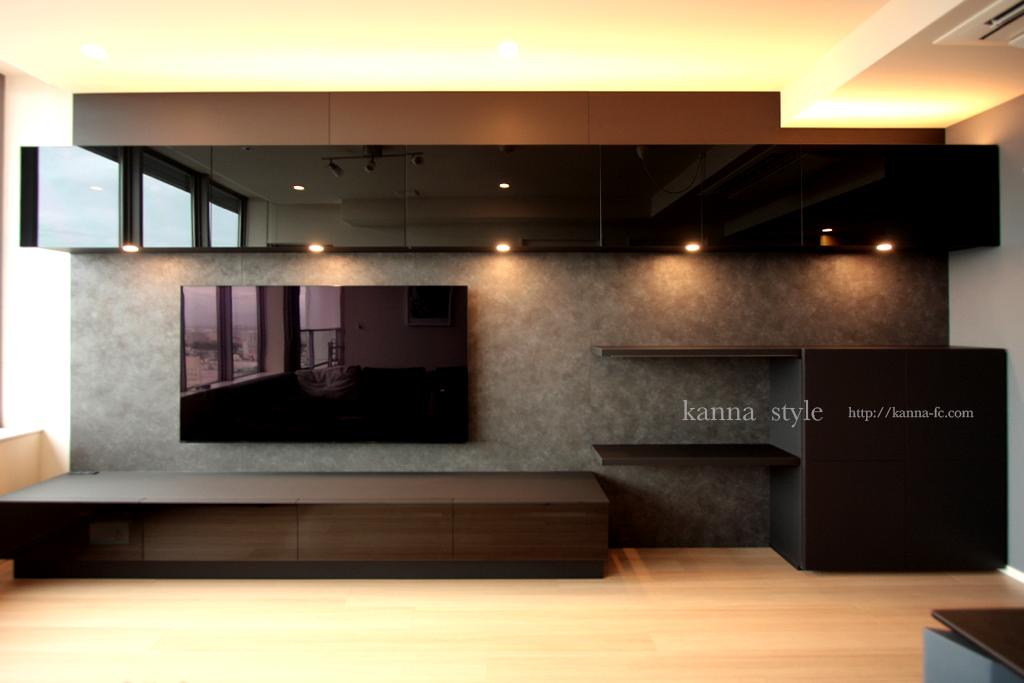 ブラックガラス壁掛けテレビボード